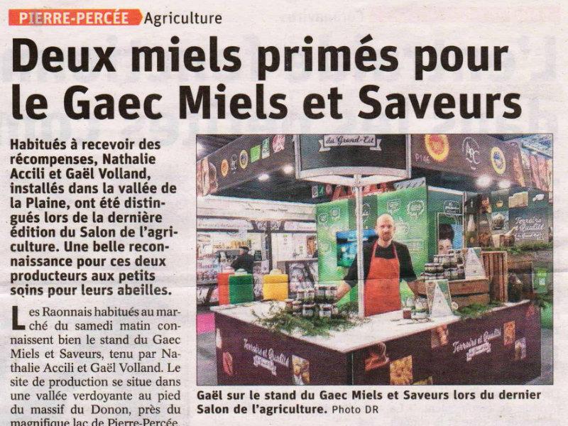 Deux nouveaux miels primés au salon agricole de Paris 2020
