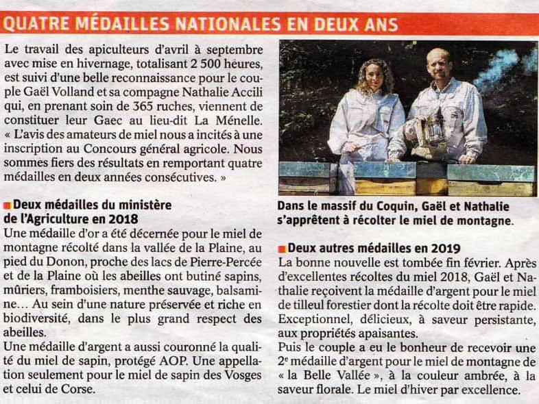Quatre médailles nationales en deux ans !